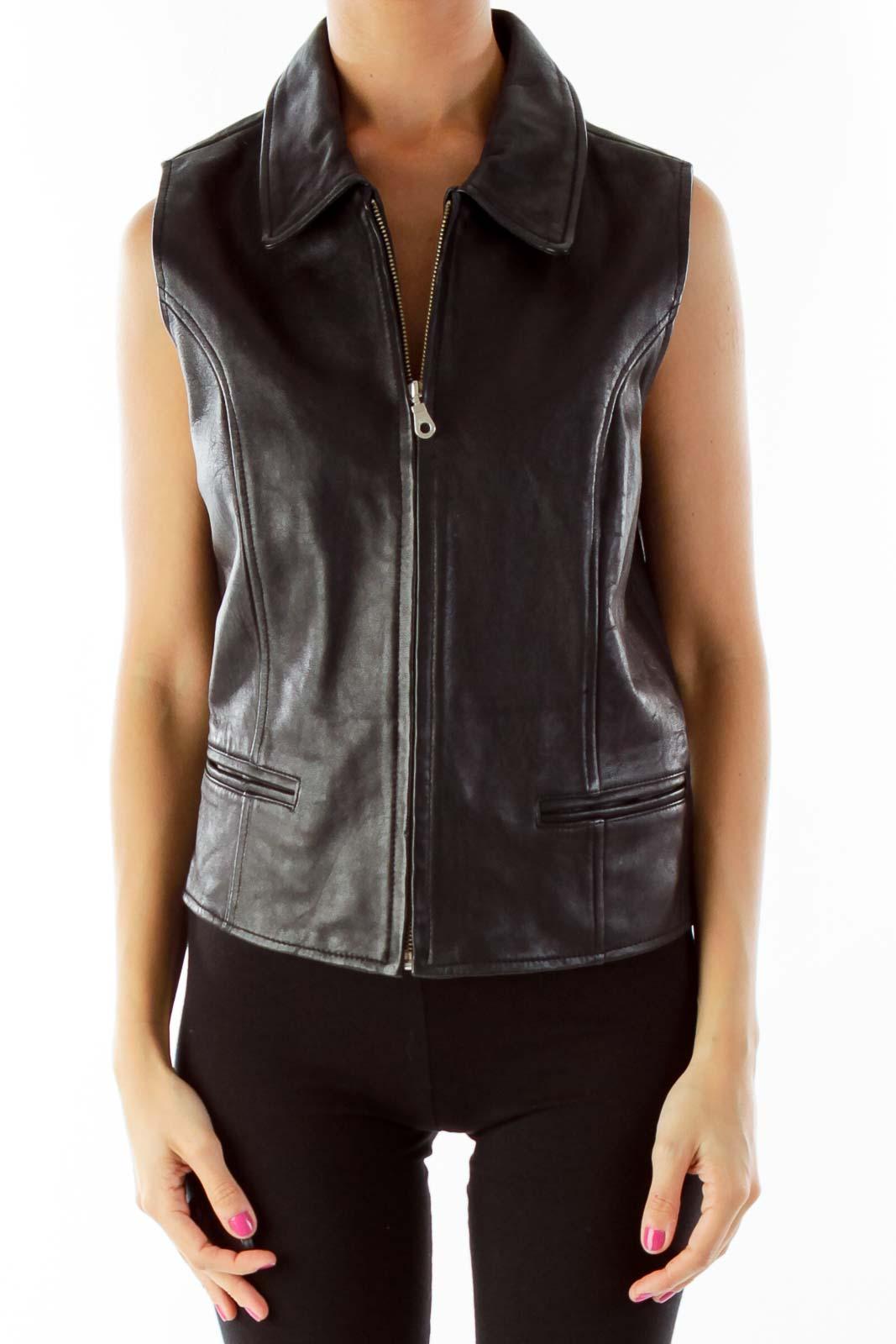 Black Leather Vest Front
