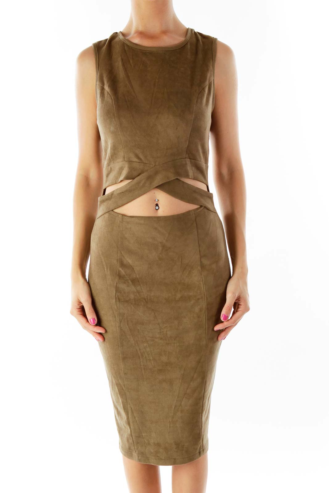Olive Green Suede Cocktail Dress Front