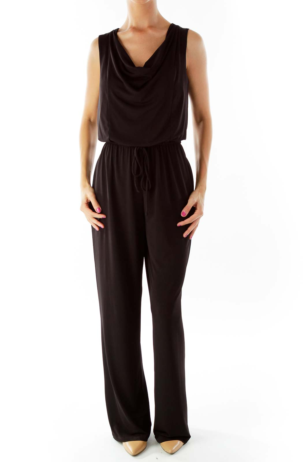 Black Sleeveless Jumpsuit Front