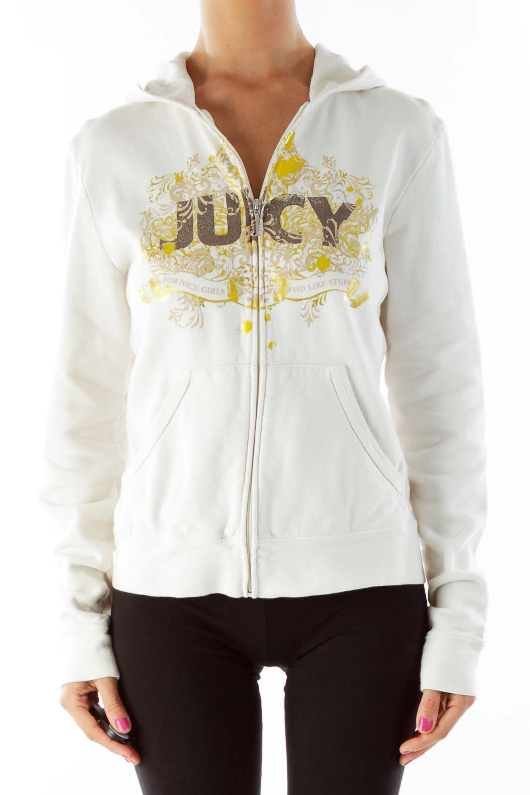 Cream Juicy Print Hoodie Front