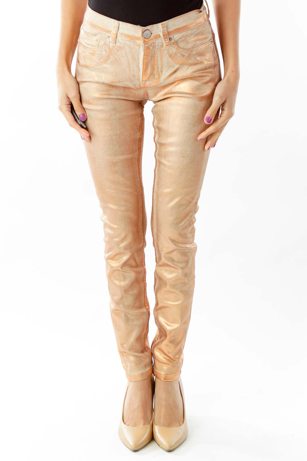 Gold Skinny Jeans Front