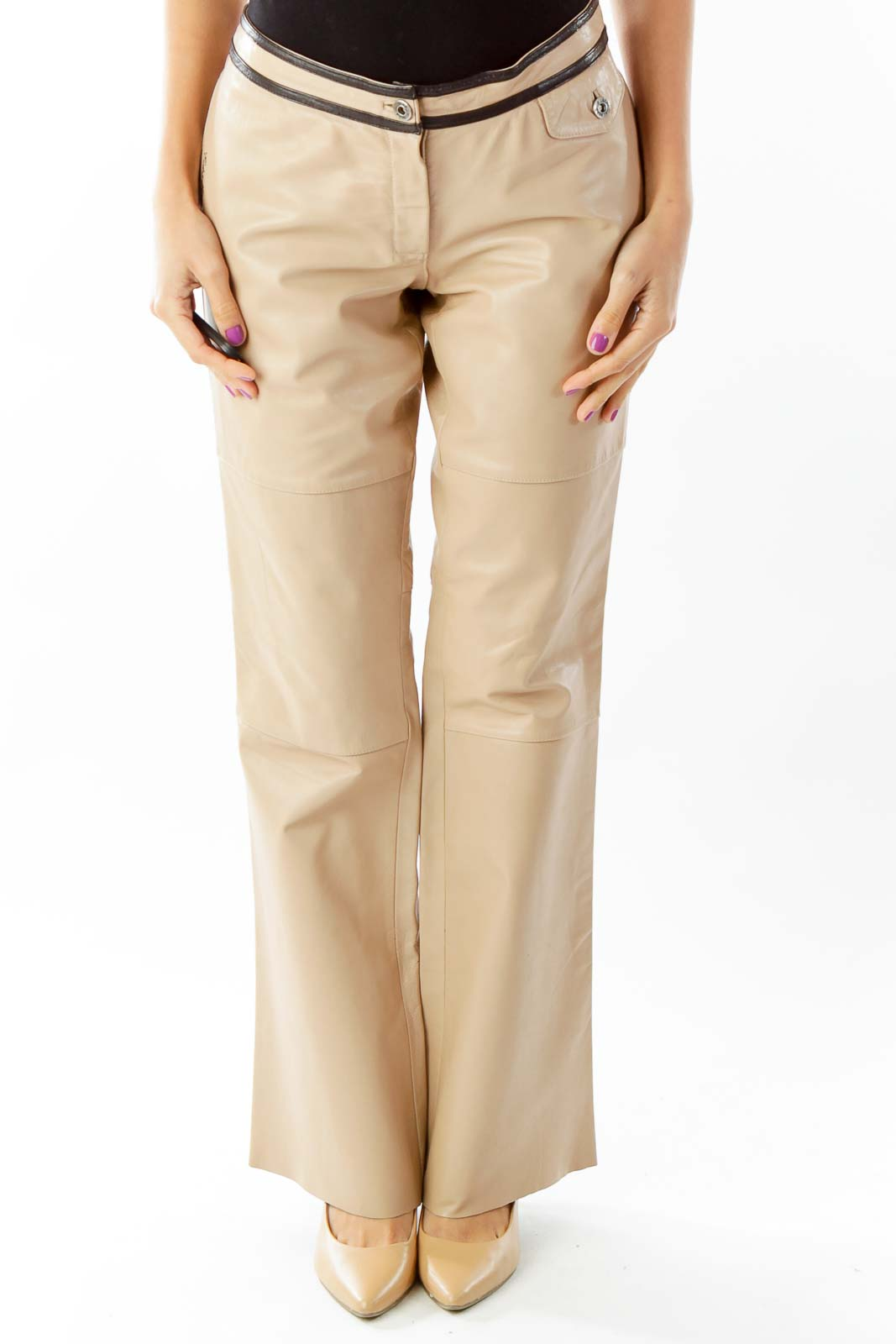 Beige Leather Flared Pants Front