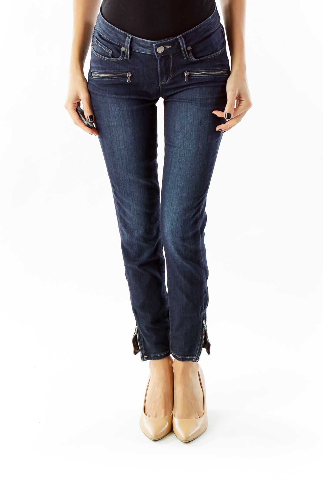 Navy Zippered Skinny Jeans Front