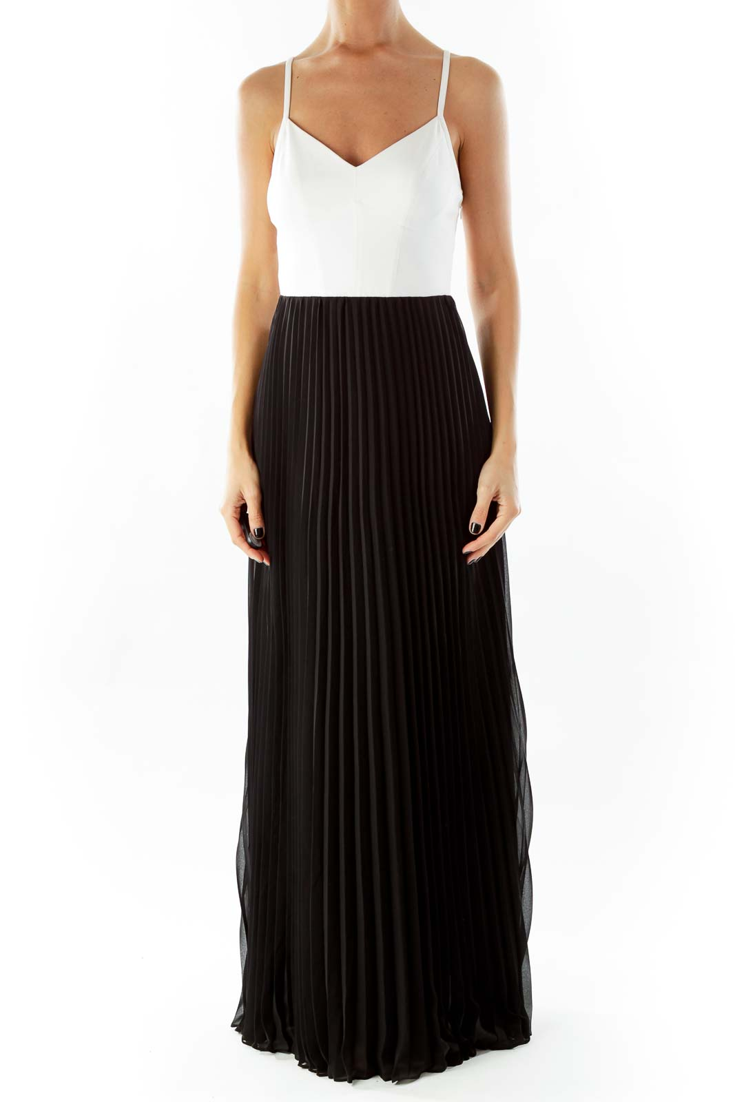 Cream Black Pleated Maxi Dress Front