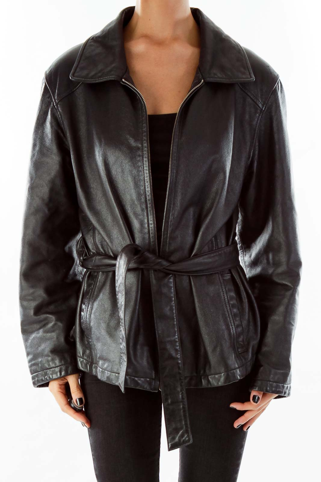 Black Leather Zippered Coat Front