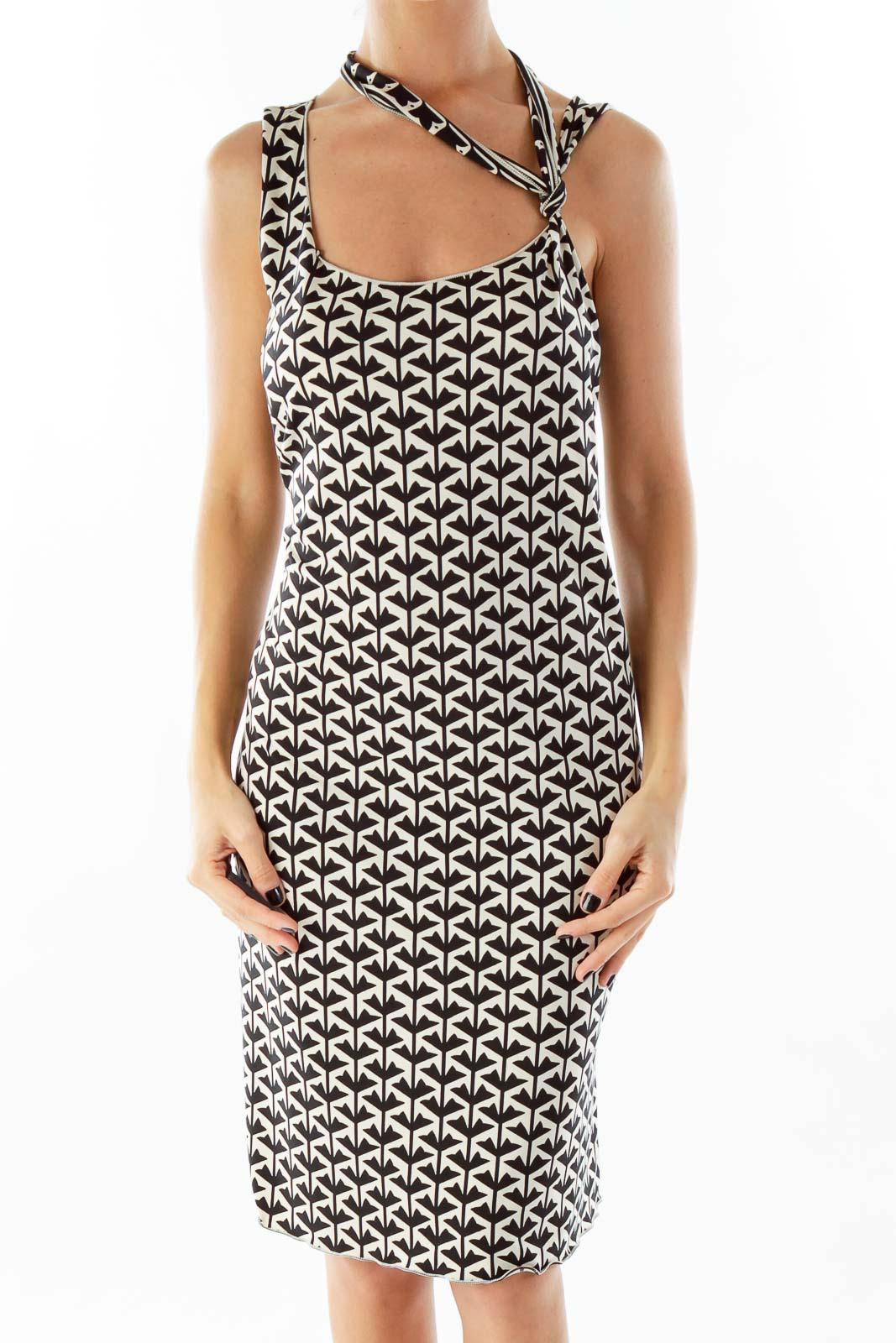 Black Cream Floral Print Dress Front
