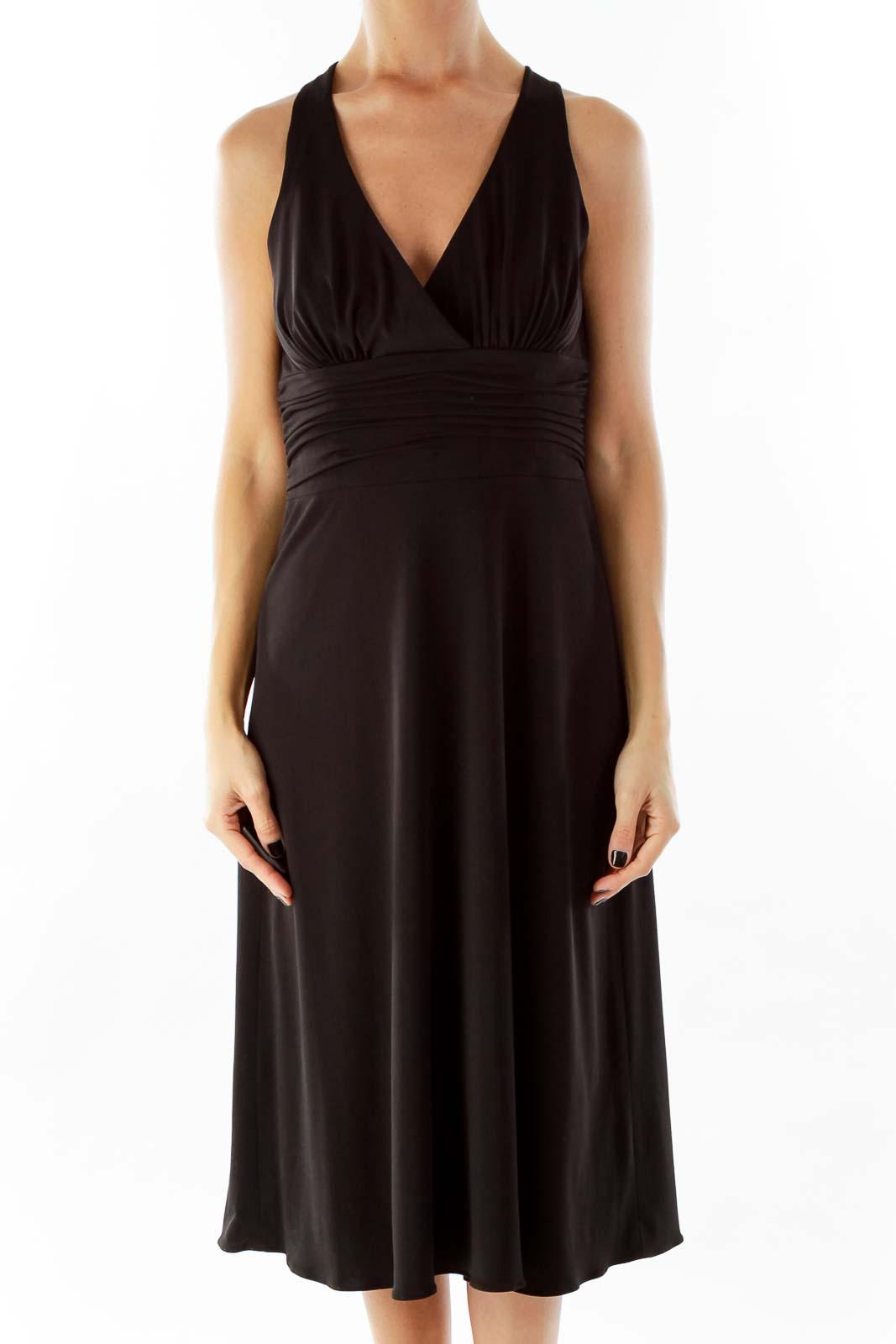 Black V-Neck Scrunched Cocktail Dress Front