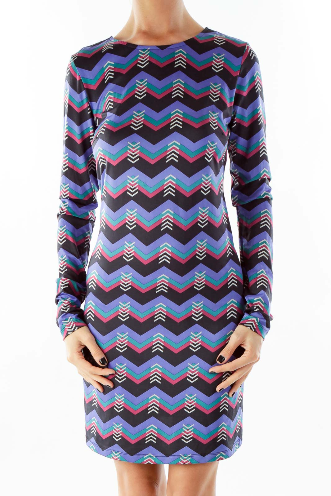 Purple Multi Victory Printed Shift Dress Front