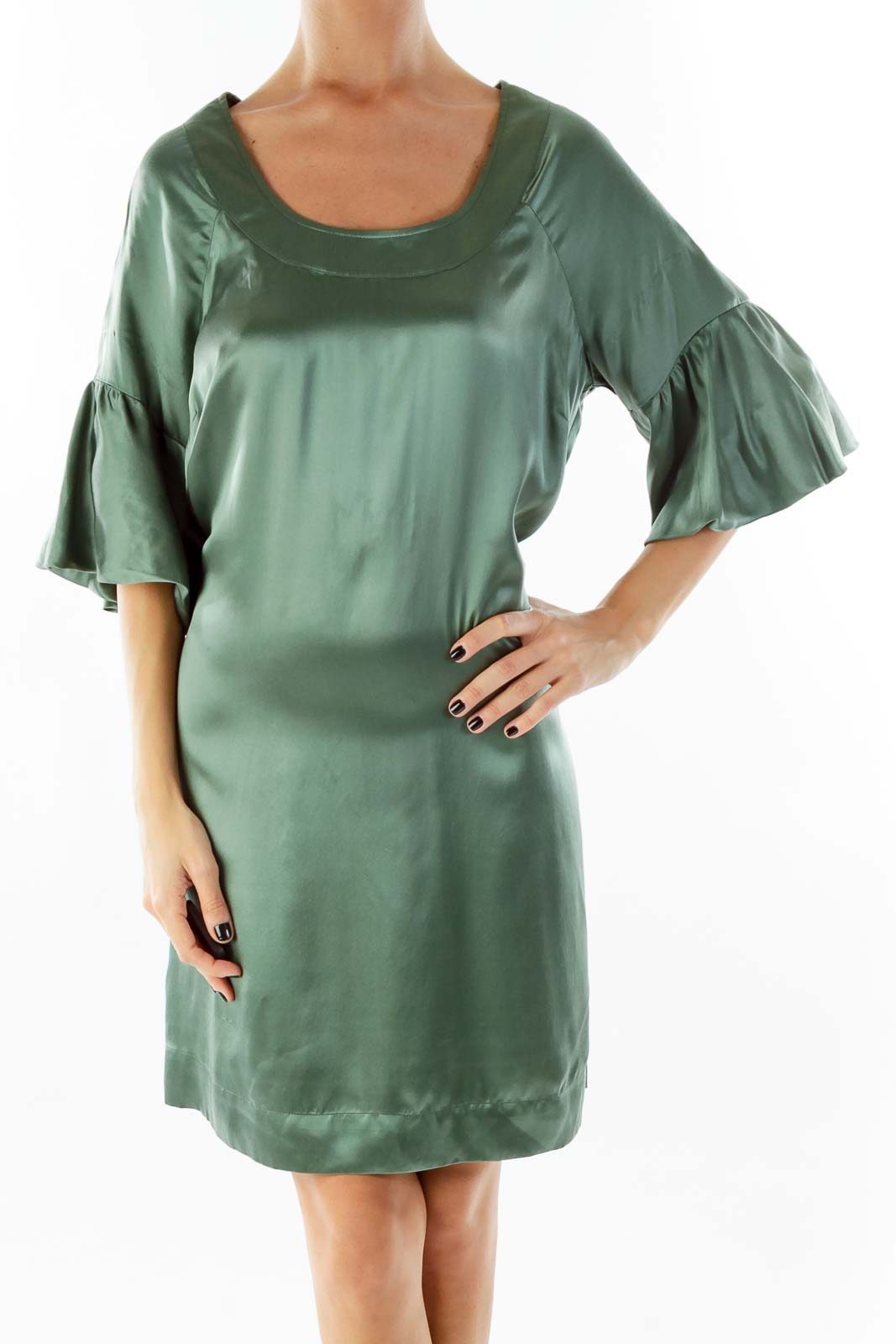 Green Ruffle Sleeve Day Dress Front