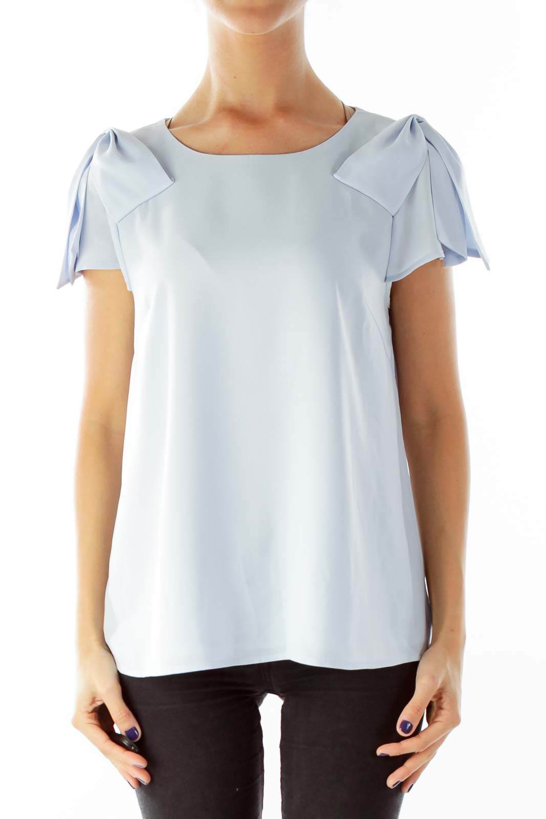 Blue Blouse with Shoulder Bows Front