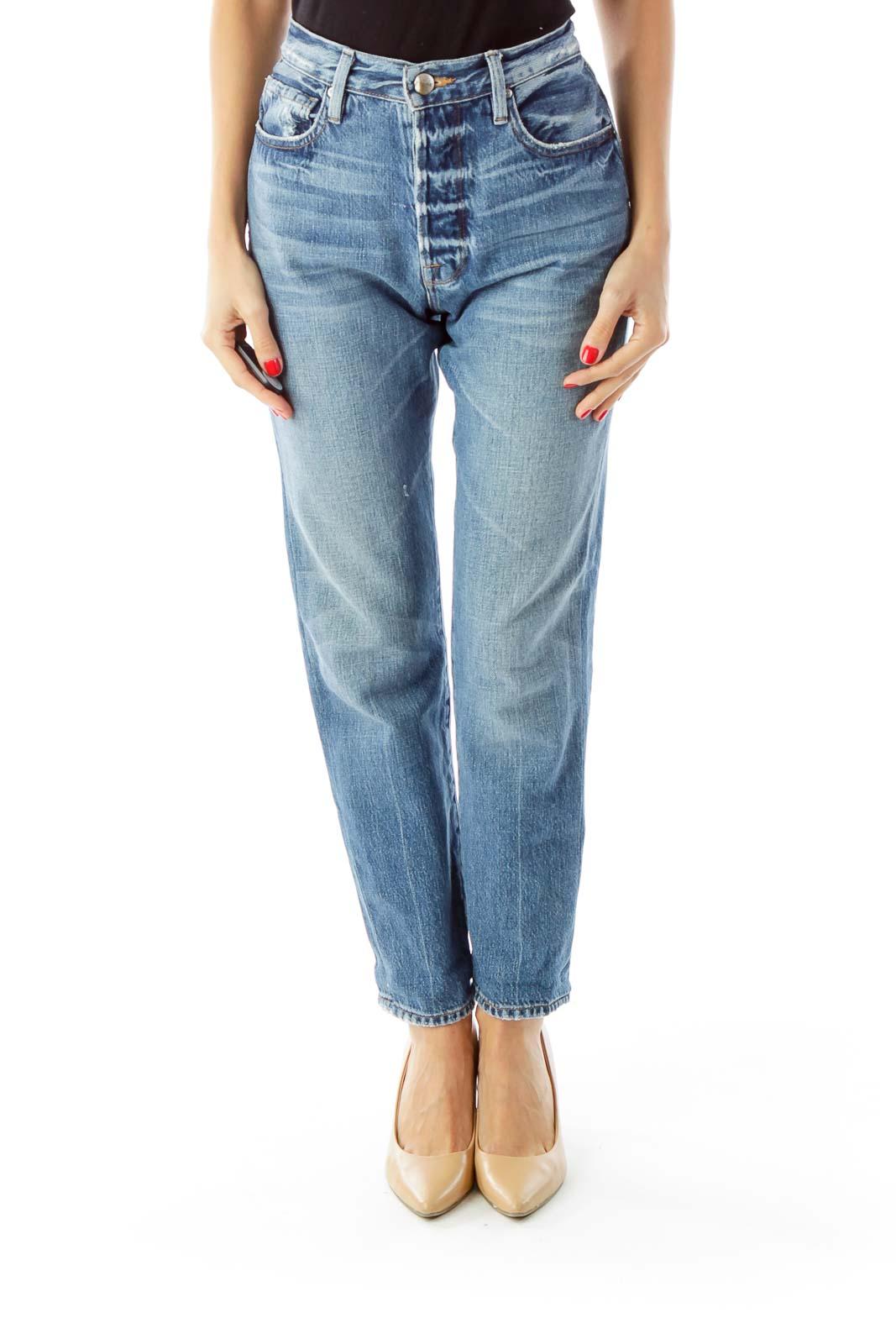 Blue Distressed High-Waist Boyfriend Jeans Front