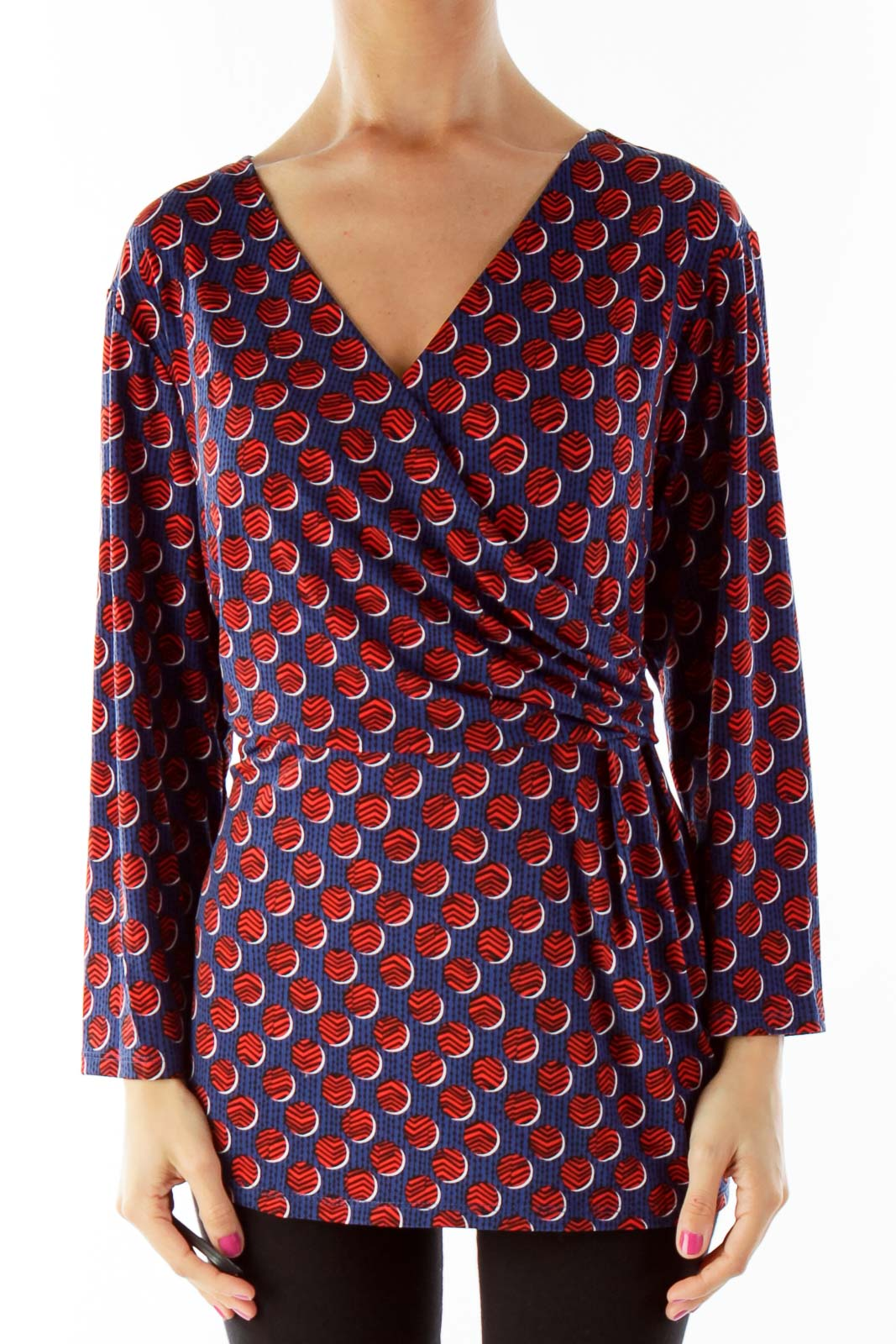 Blue Red Printed Top Front