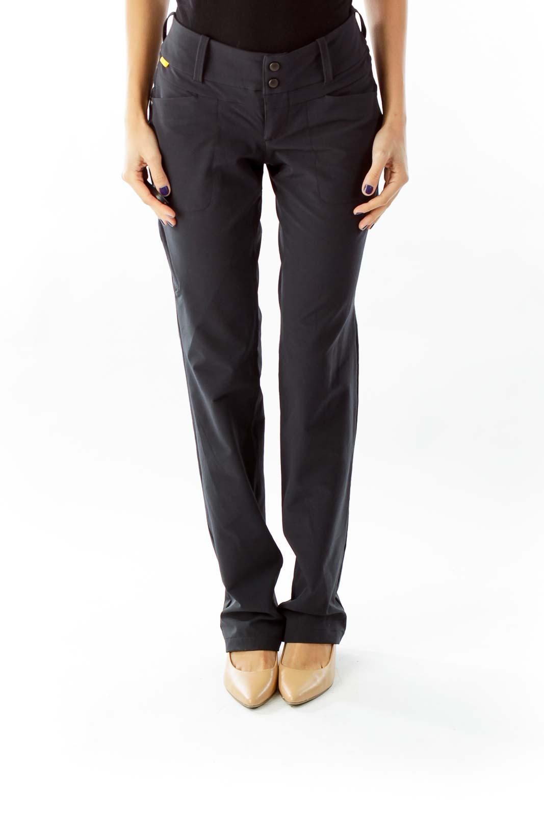Black Straight leg Sport Pants Front