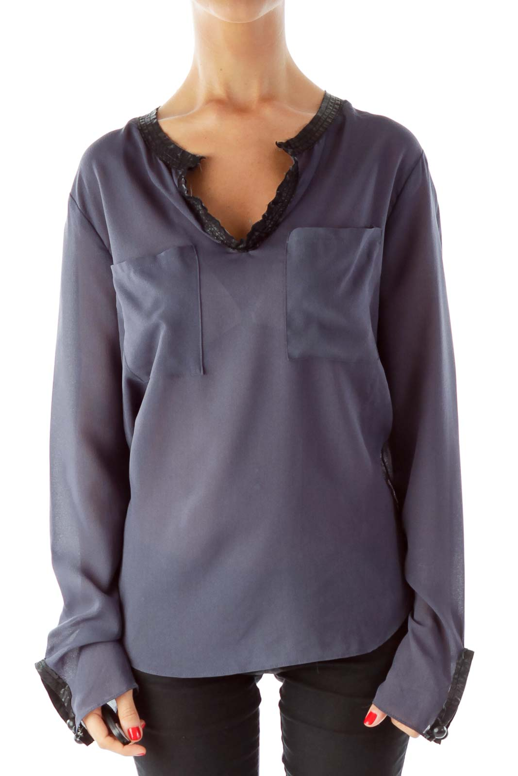 Navy Sheer Blouse Front