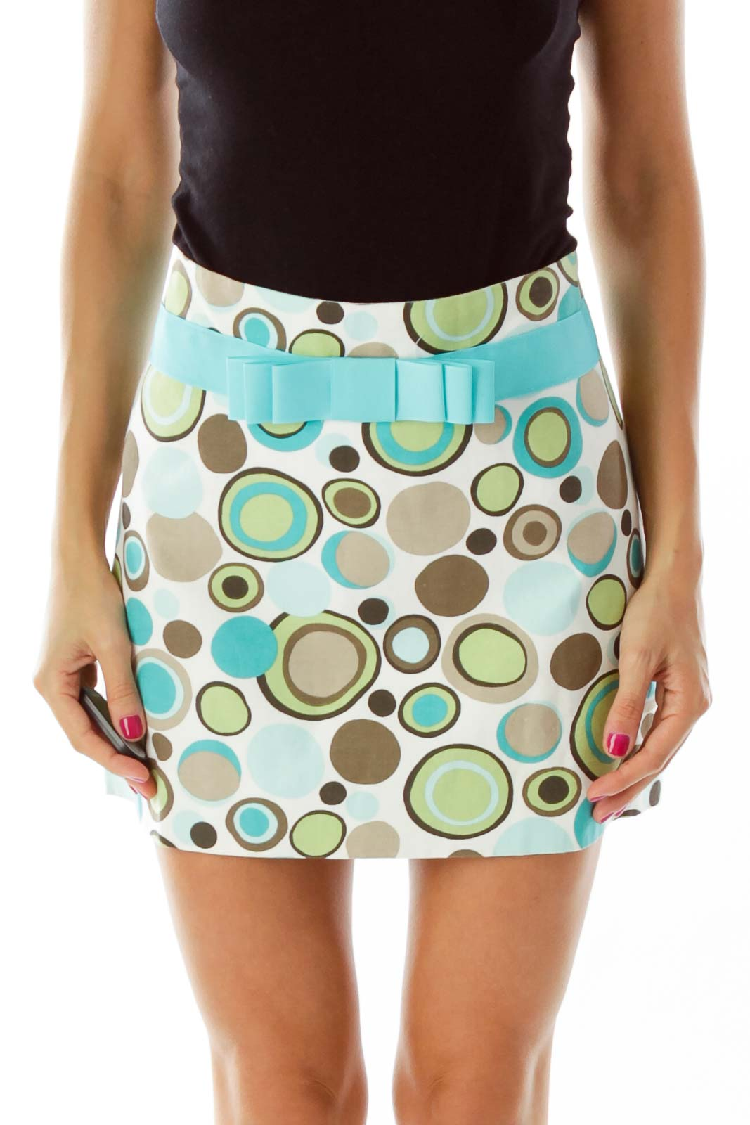 Blue White Multicolor Print Mini Skirt Front