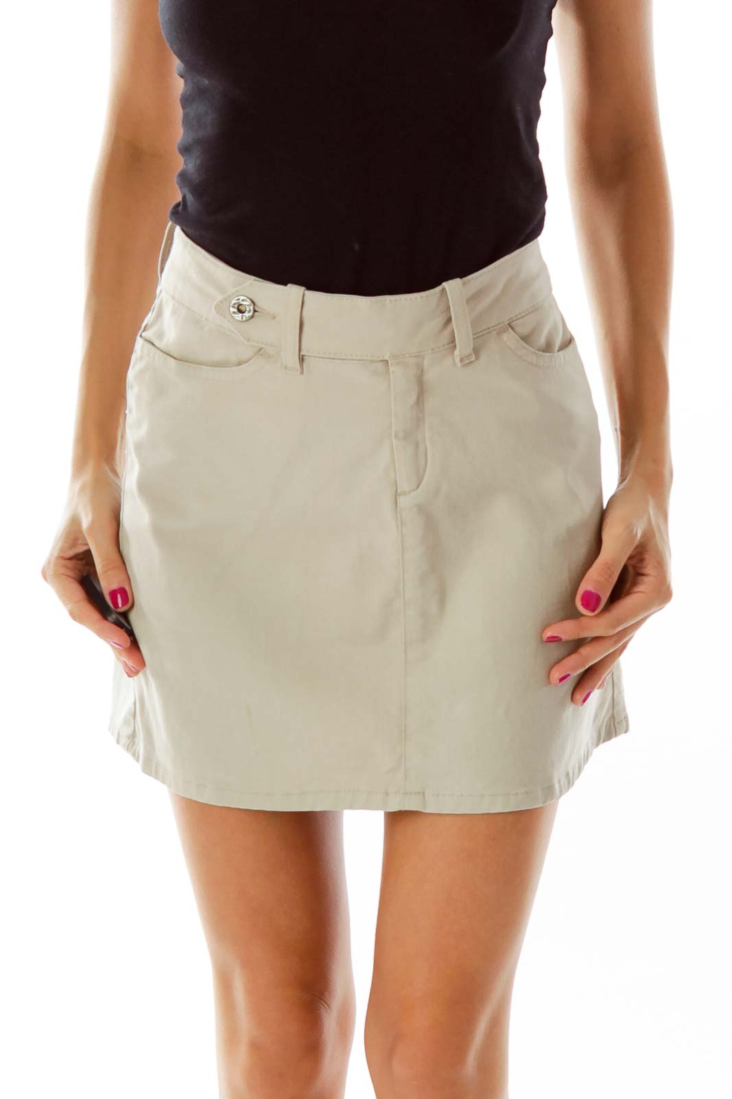 Beige Belted Stretchy Mini Skirt Front