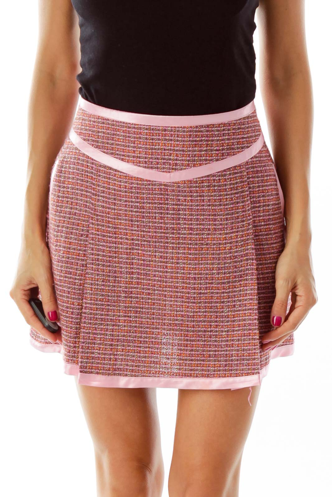 Pink Tweed Pocketed Skirt Front