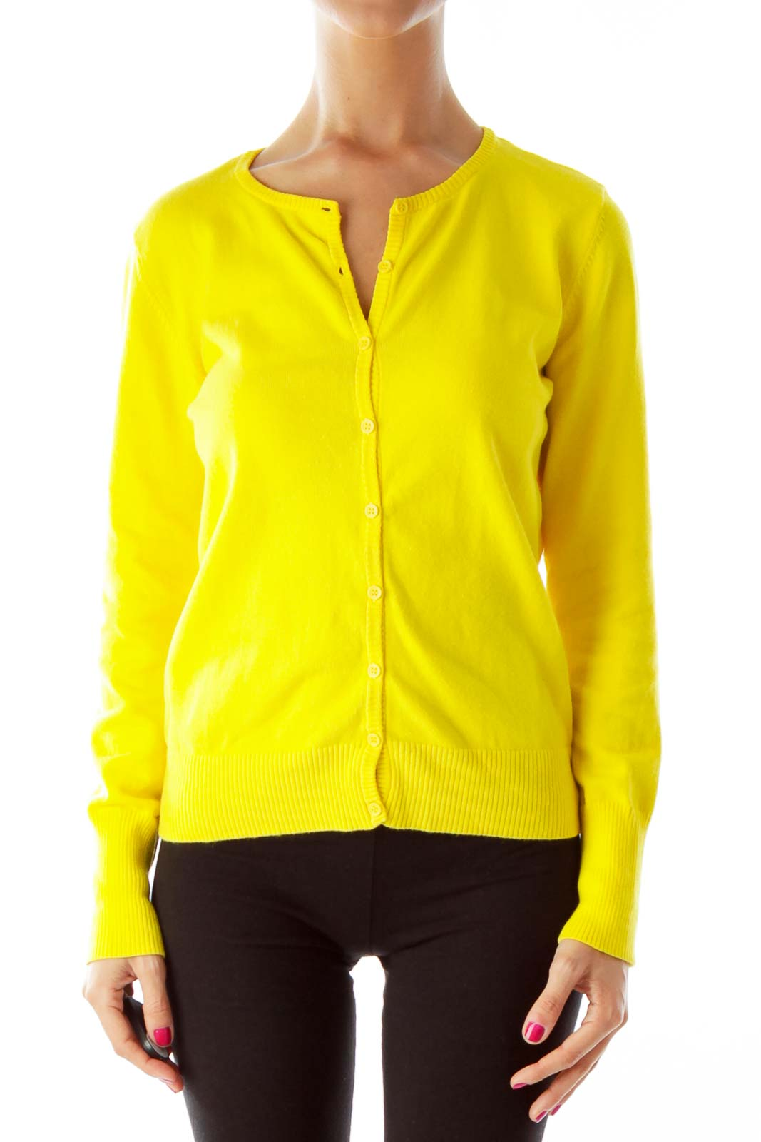 Yellow Button-Down Sweater* Front