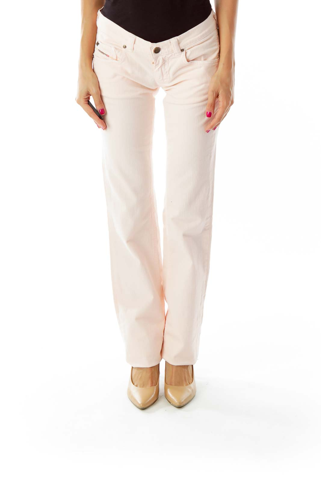 Pink Straight-Leg Jeans Front