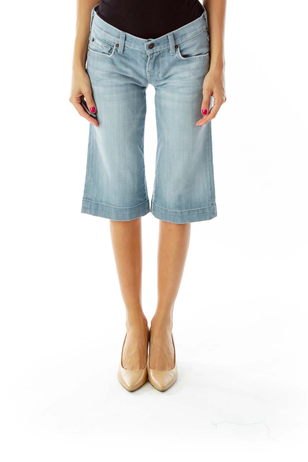 Light Blue Straight Cropped Jeans Front