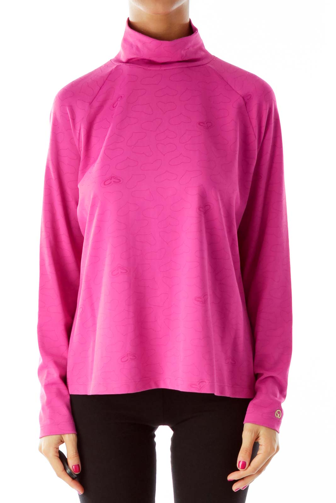 Pink Heart Turtleneck Top Front