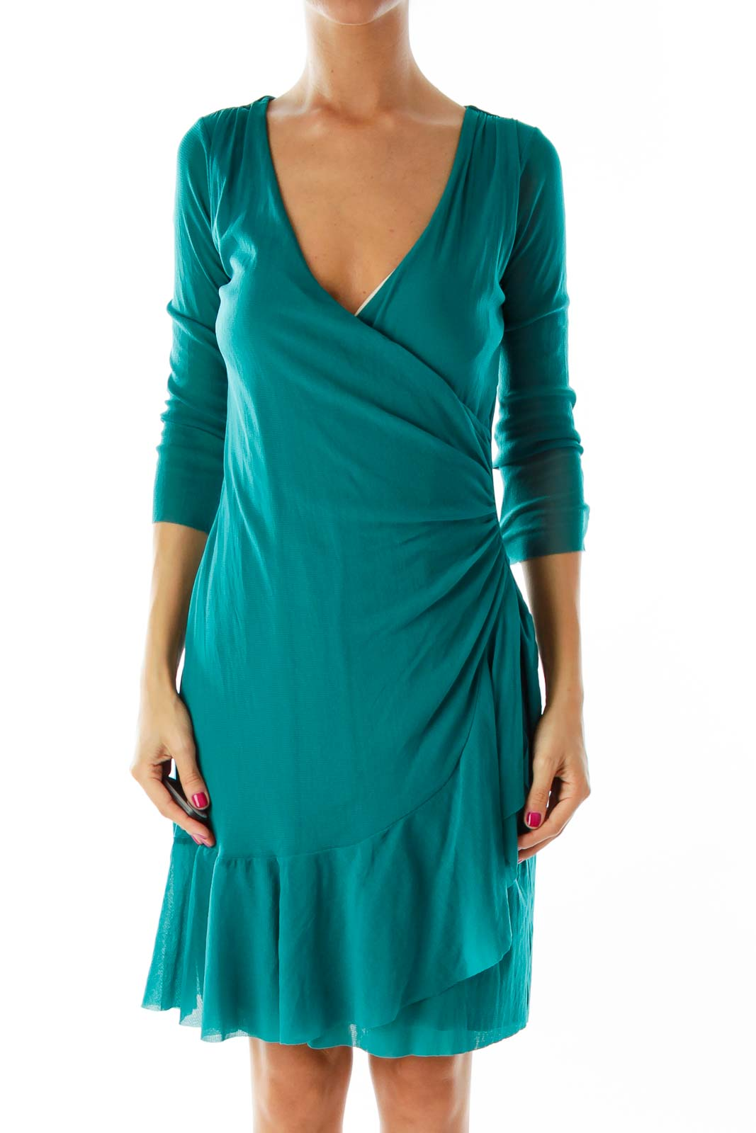 Green Patina Day Dress With Ruffle Wrap Front