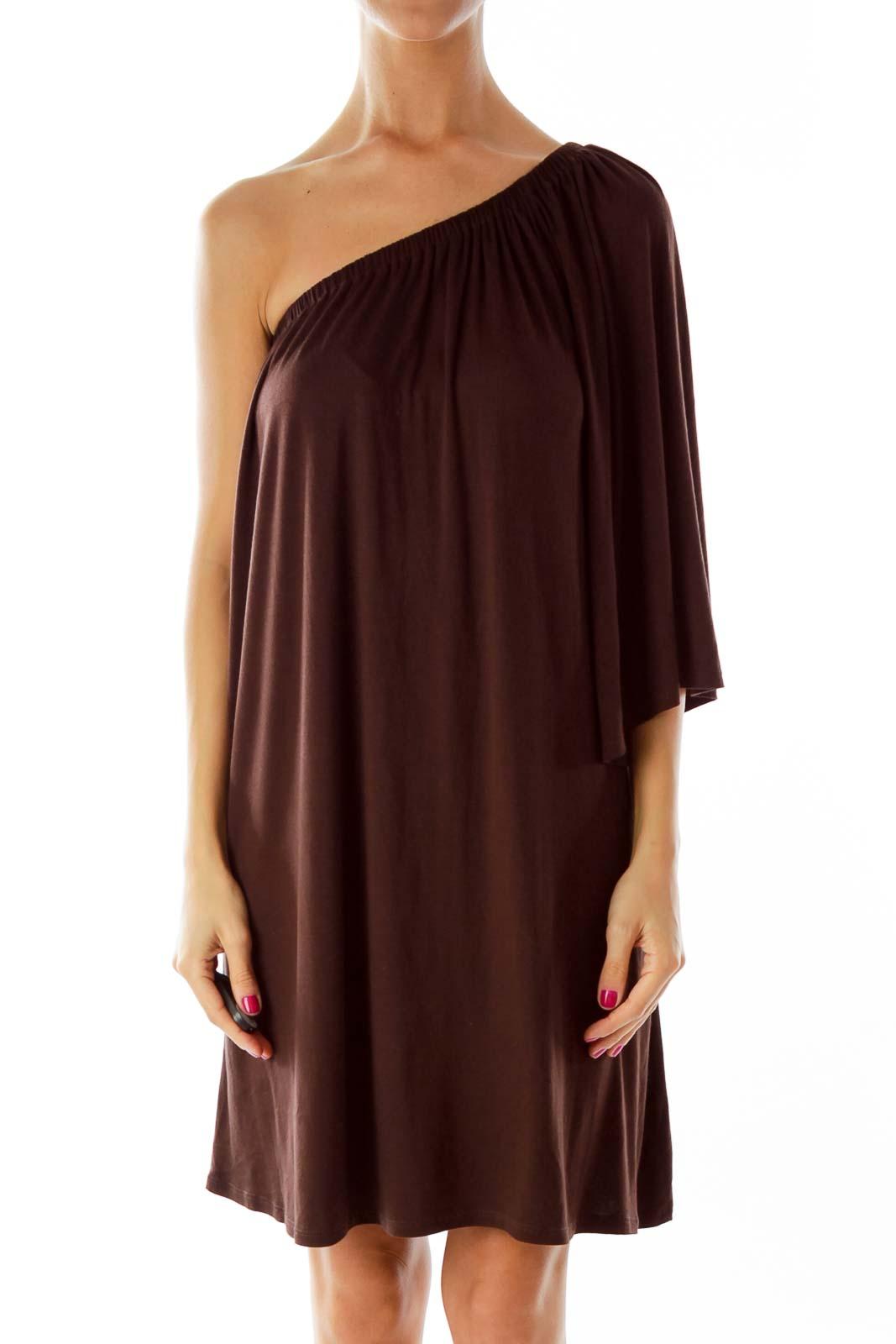 Brown One-Shoulder Cocktail Dress Front