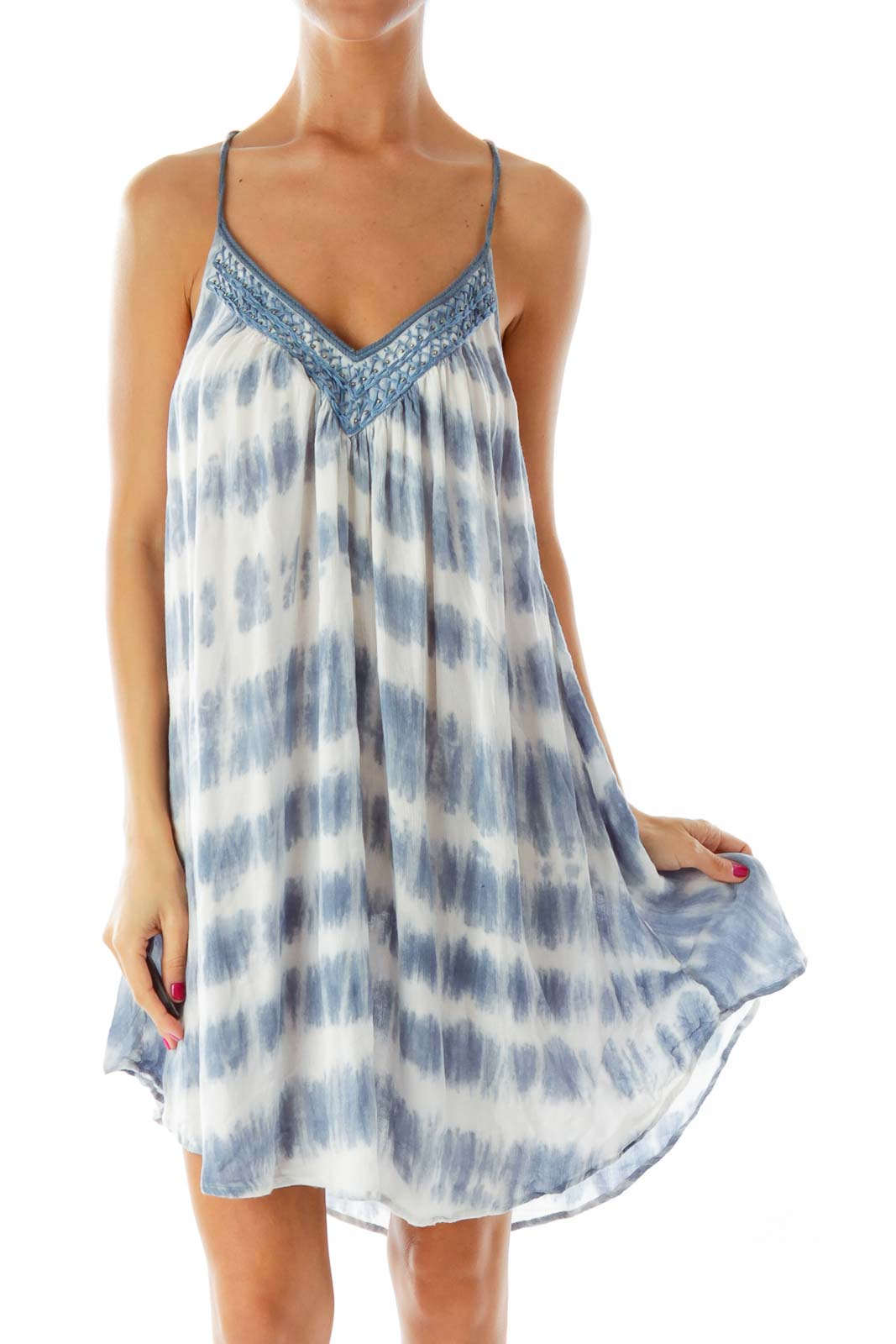 Blue White Tie Dye Dress Front
