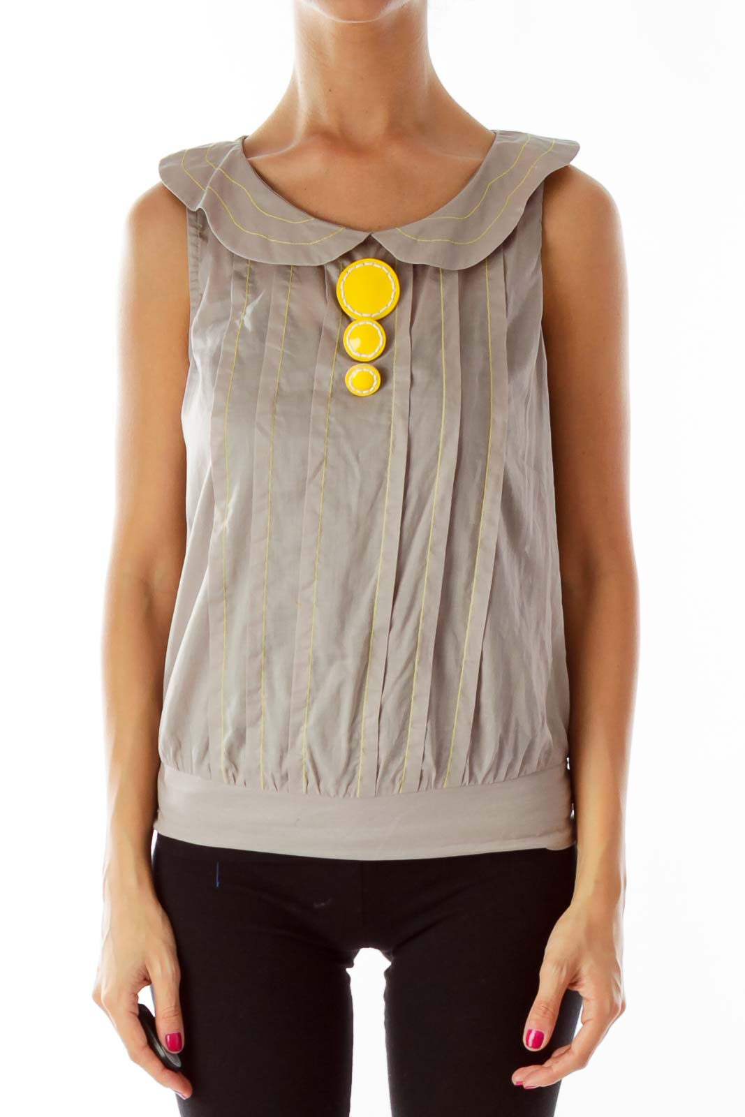 Gray Yellow Buttoned Blouse Front
