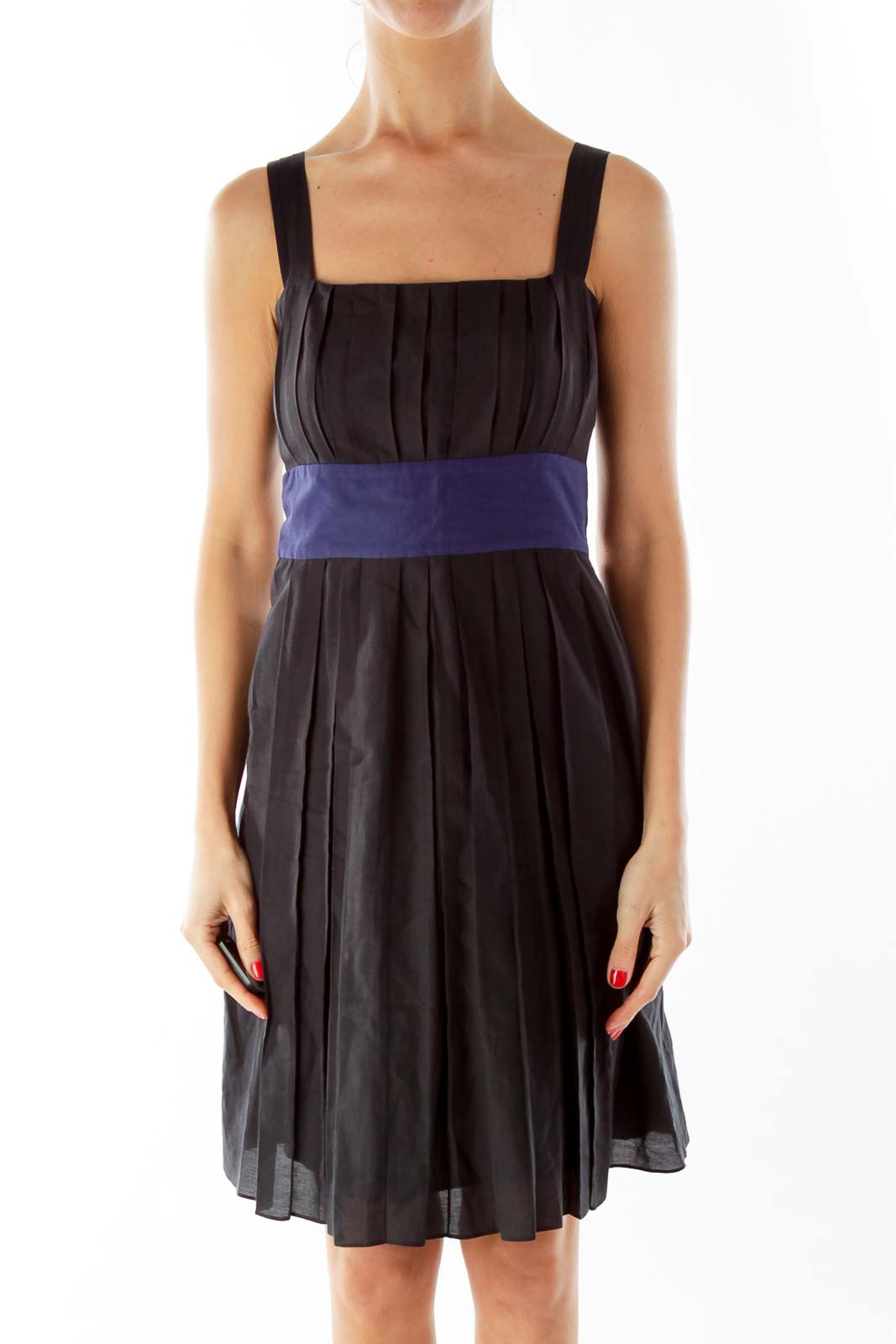Black Navy Pleated Day Dress Front