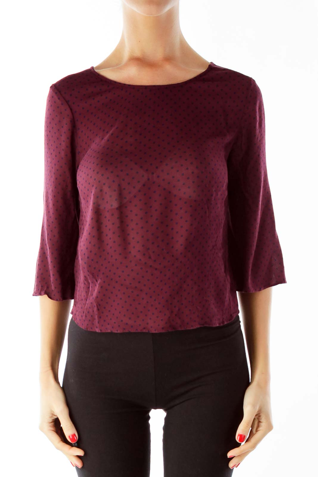 Mahogany Black Polka-Dotted Cropped Blouse Front