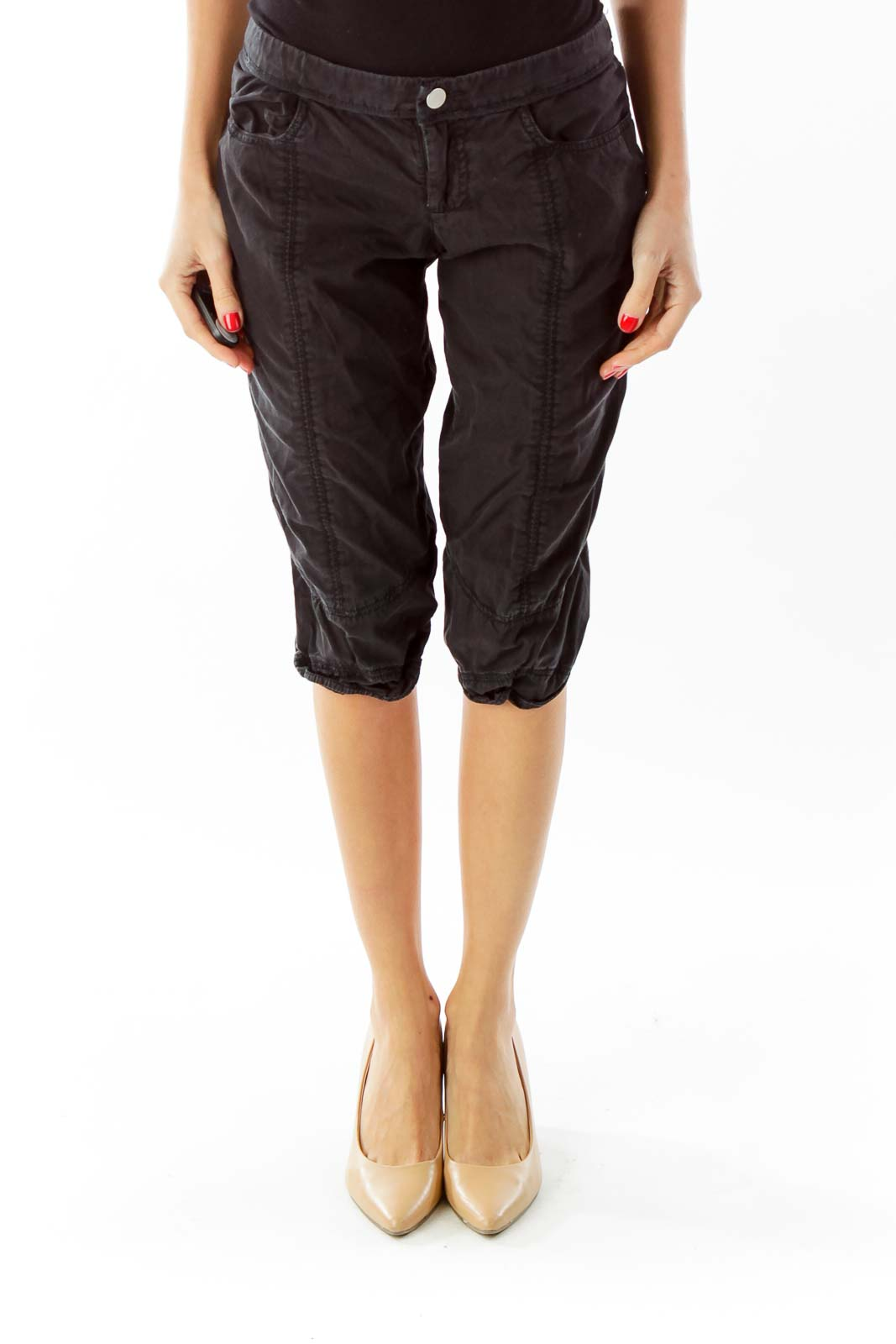 Black Cropped Pants Front