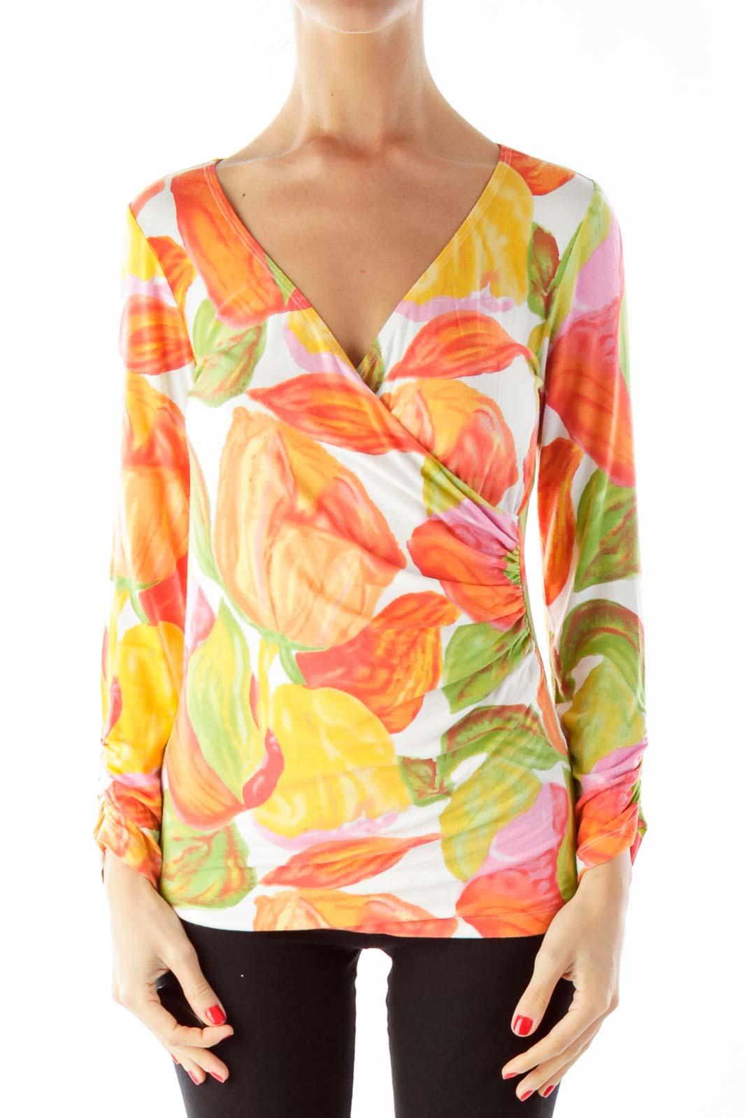 Orange Floral V-Neck Blouse Front