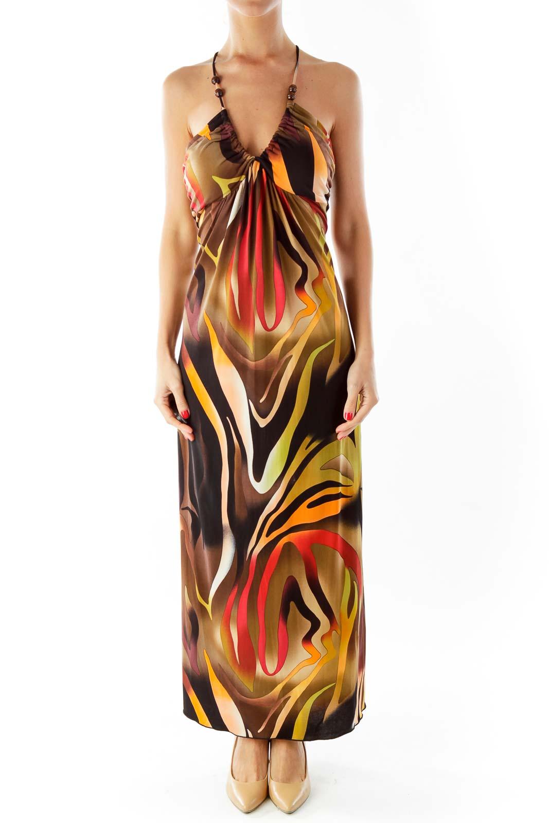 Multi-Color Zebra Print Maxi Dress Front