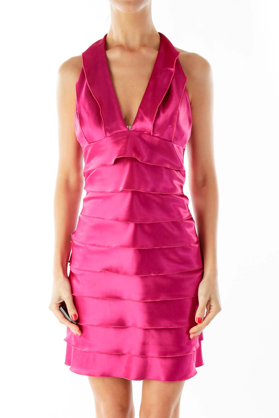 Magenta Halter Dress Front
