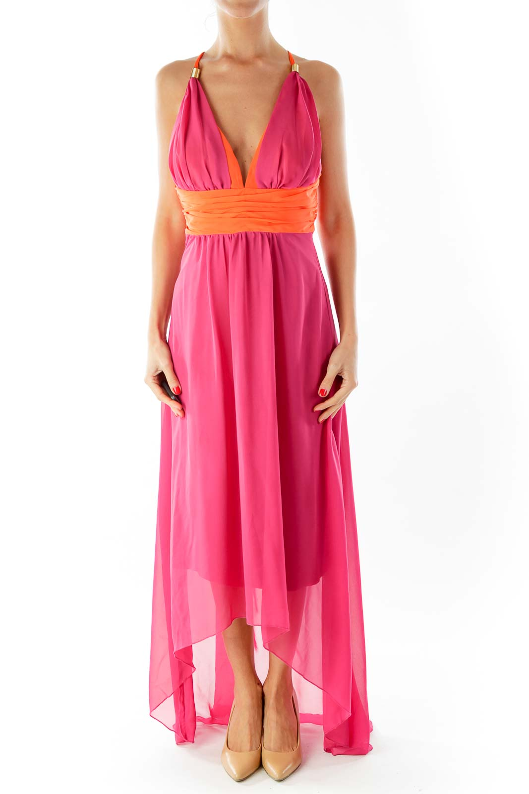 Orange & Pink Silk Maxi-Dress Front