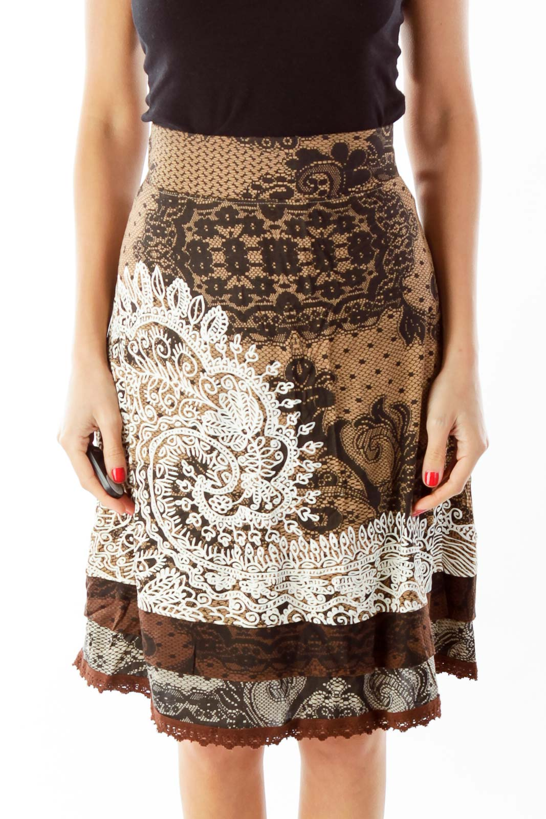 Brown Floral Print Skirt Front