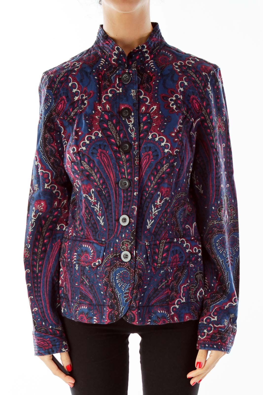 Navy Red Paisley Jacket Front