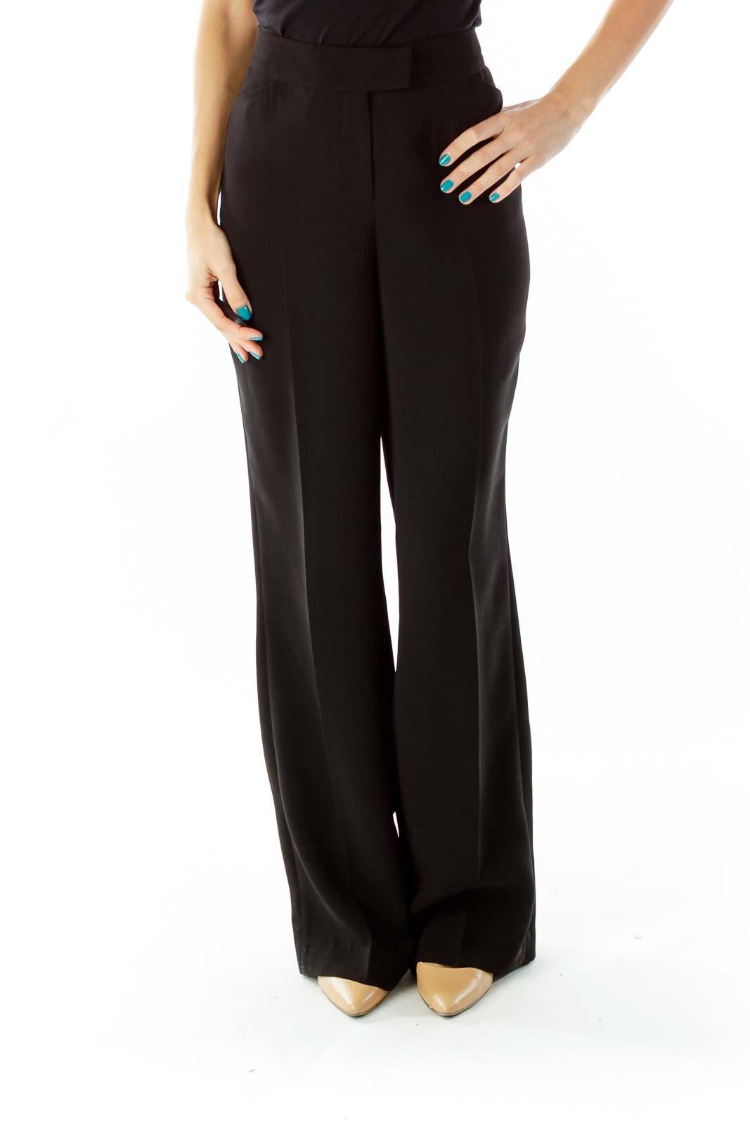 Black Pocketed Wide-Leg Suit Pants Front