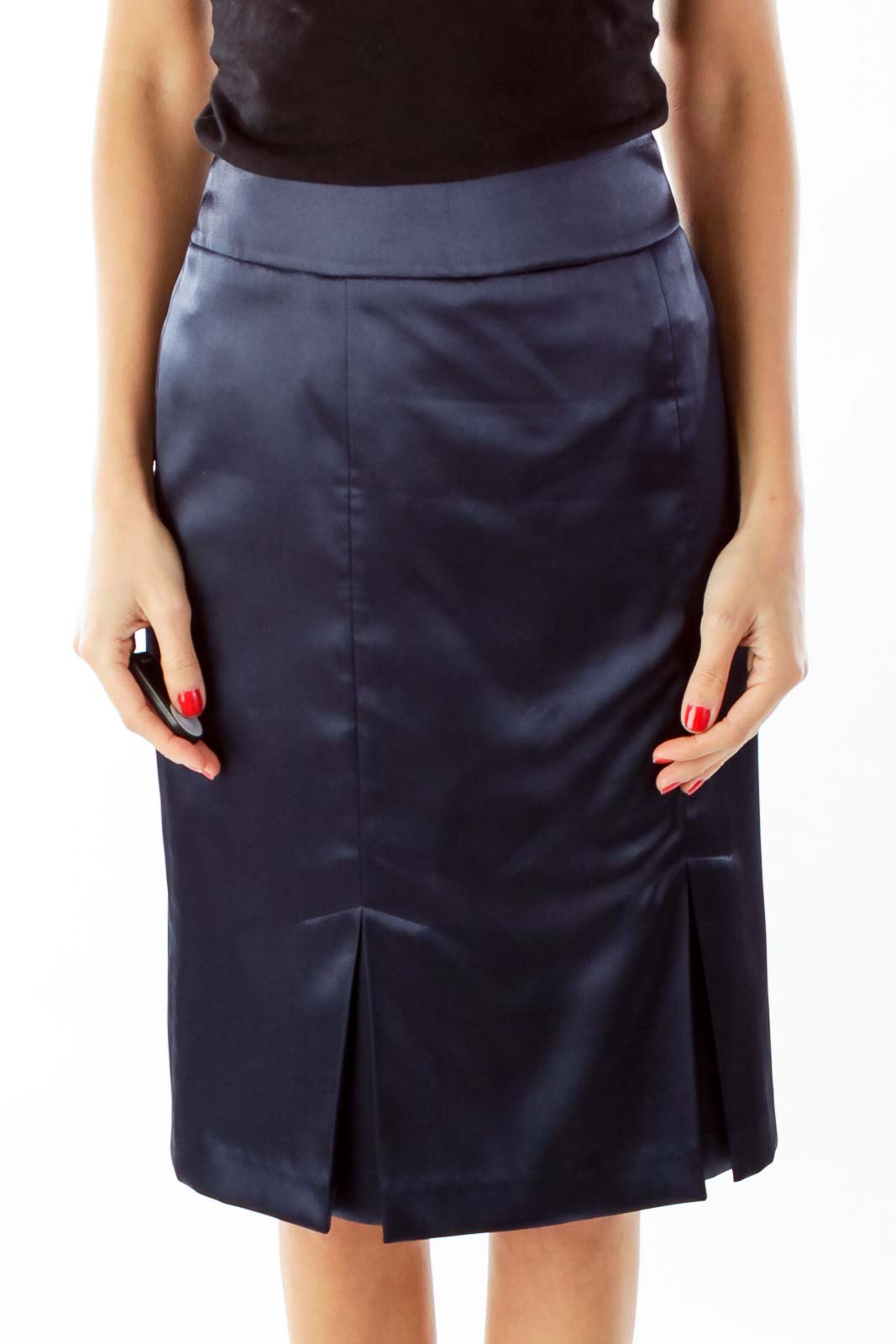 Blue Pleated Suit Skirt Front