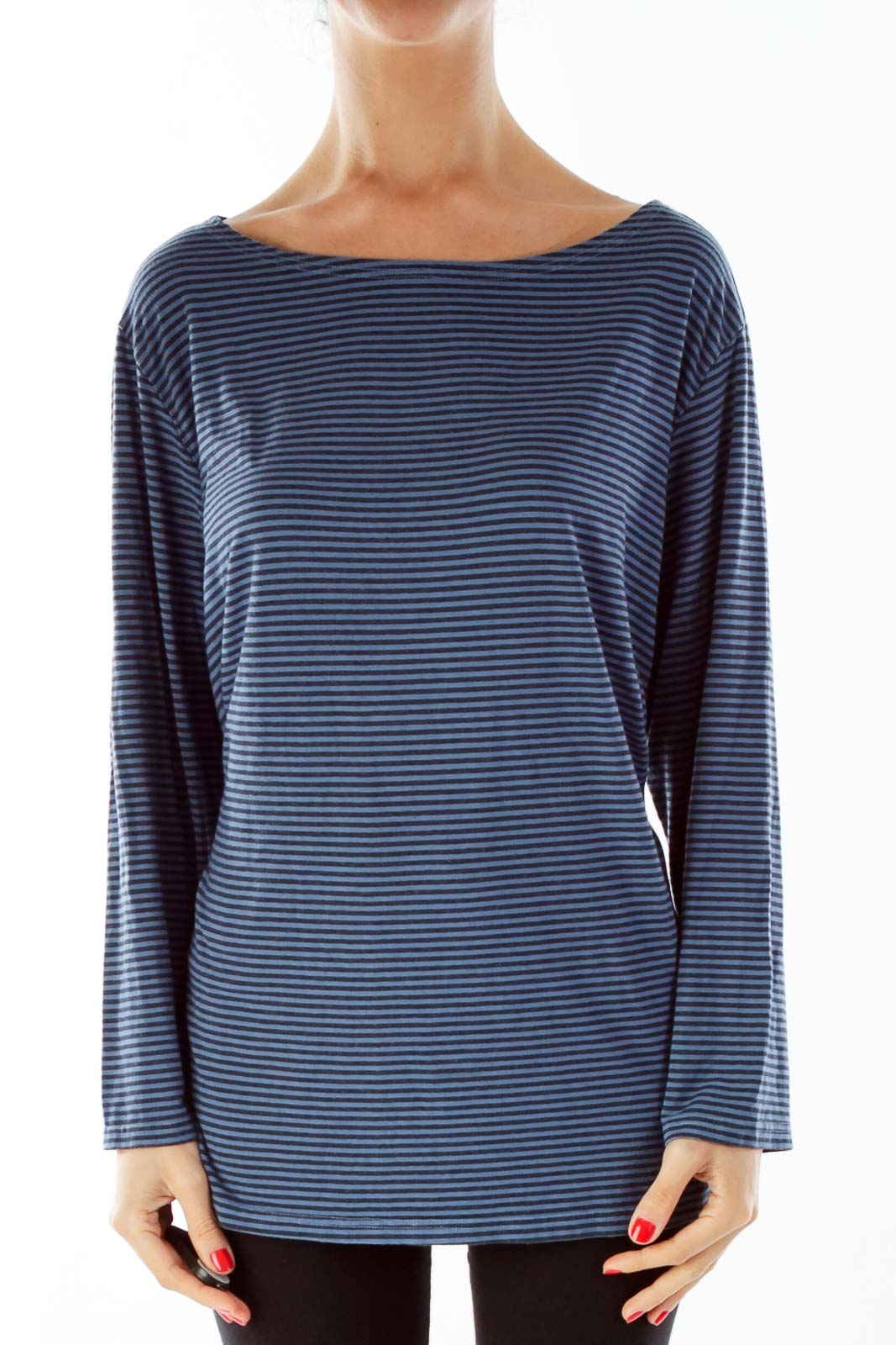 Blue Black Striped Shirt Front