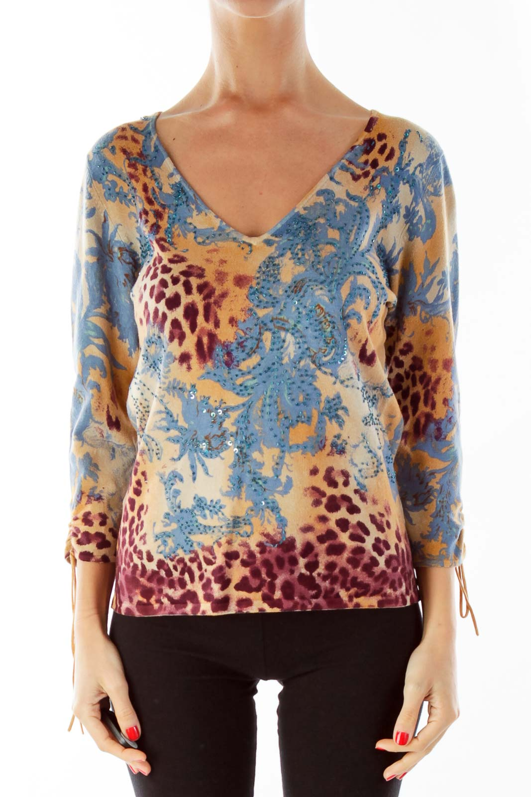 Brown Red Blue Beaded Blouse Front