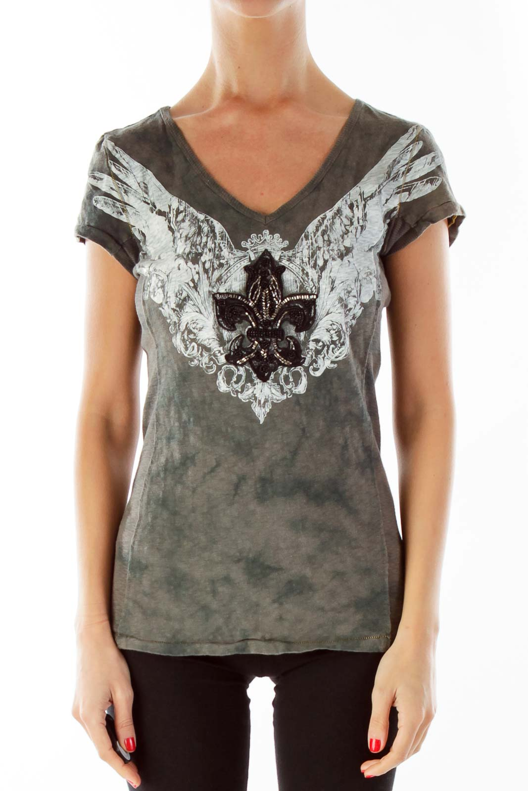 Gray Print Beaded Graphic Tee Front