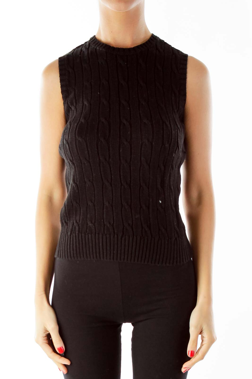 Black Cable Knit Vest Front
