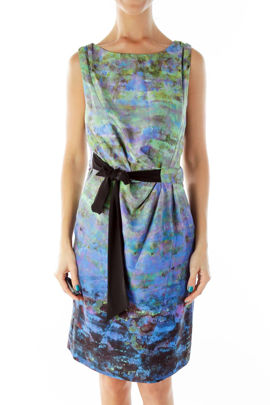 Multicolor Watercolor-Print Belted Day Dress Front