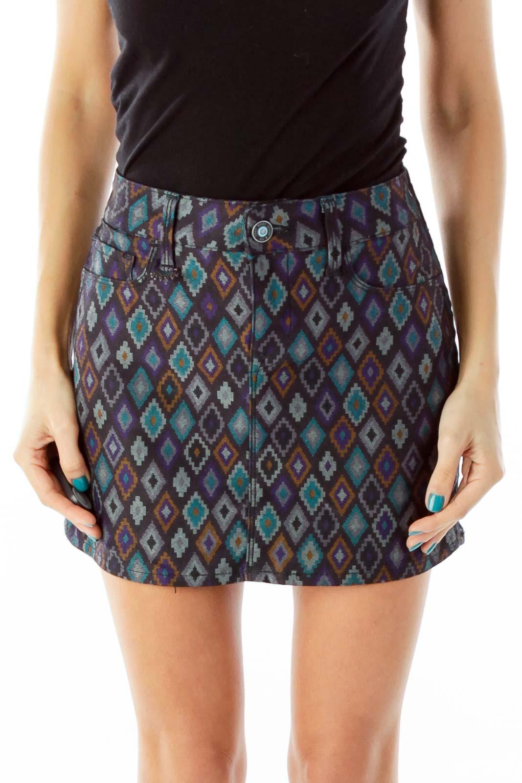 Multicolor Geometric Print Denim Skirt Front