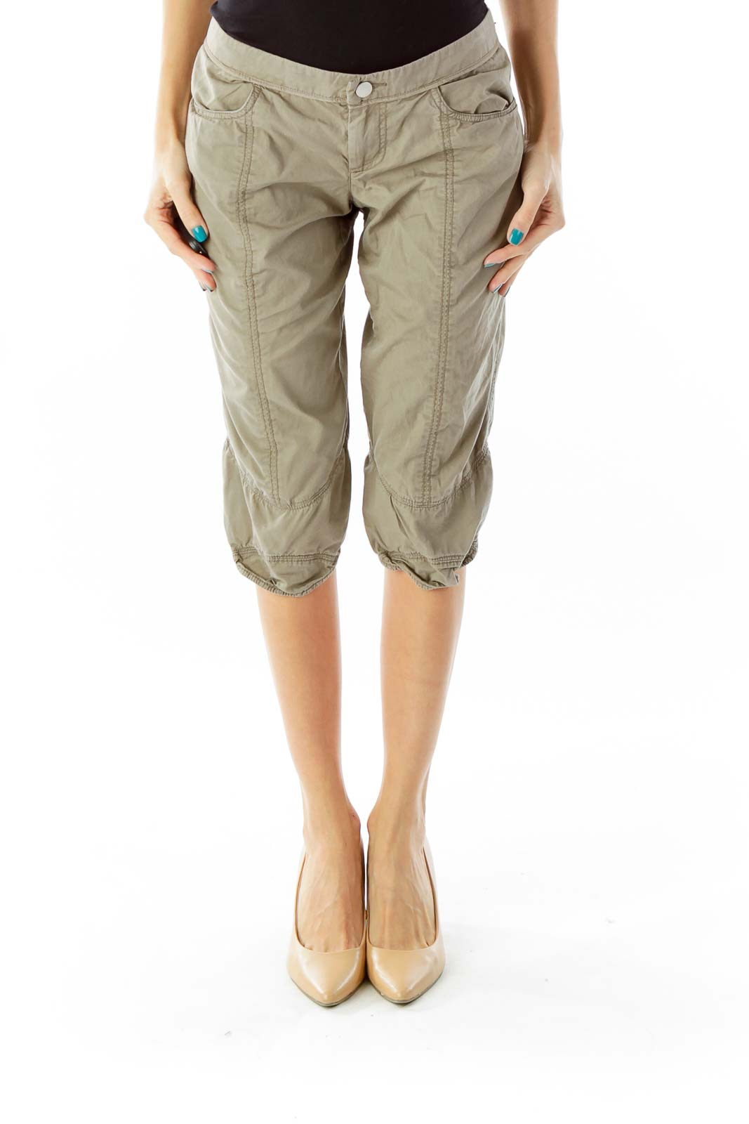 Crocodile Green Pocketed Cropped Pants Front
