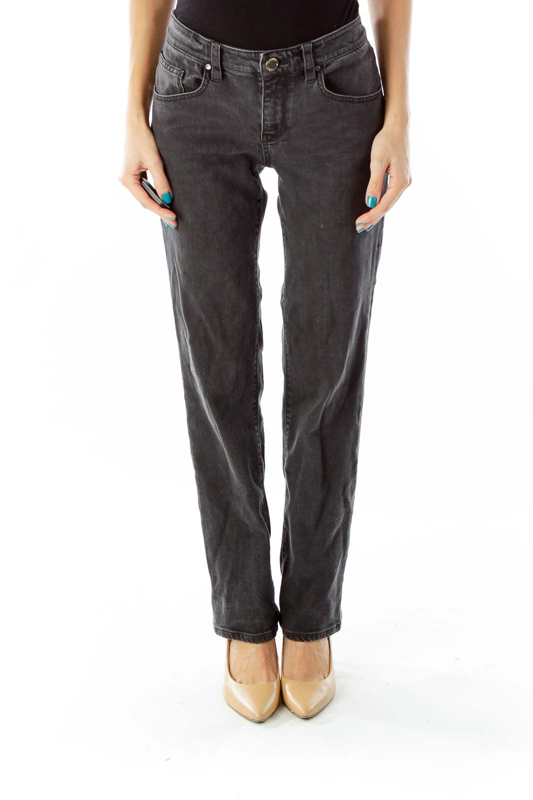 Gray Mid-Rise Straight-Leg Jeans Front