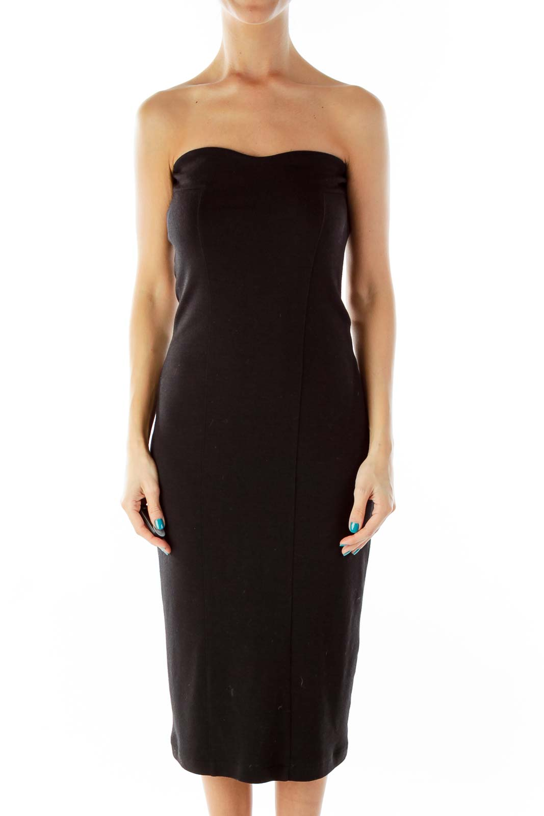 Black Strapless Cocktail Dress Front