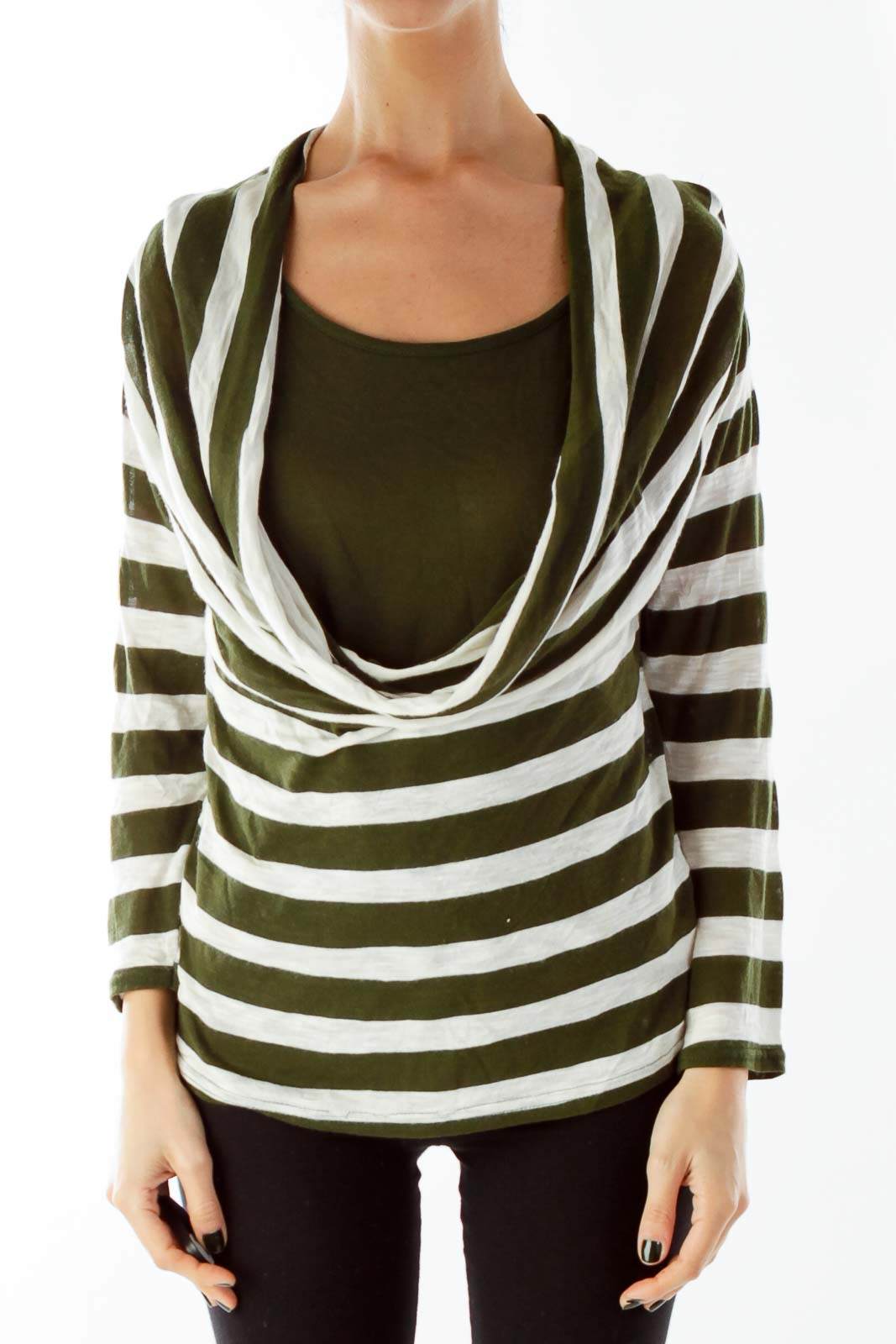 Green Beige Stripped Loose Layered Knit Top Front